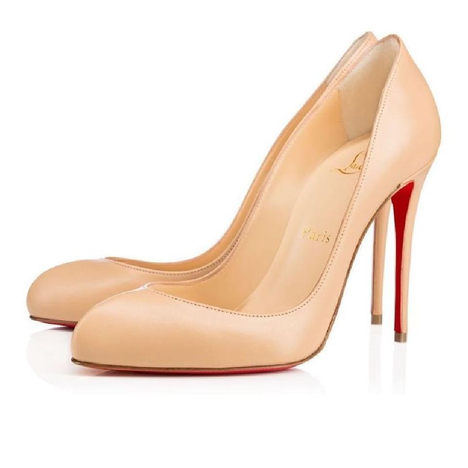 Christian Louboutin Latte Nude Beige Breche Leather Wedding 100 Pumps Size US 6 Regular (M, B)