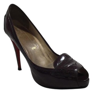 Christian Louboutin Loubs Red Bottoms Maroon Peniche Stiletto Pumps