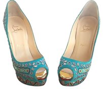 Christian Louboutin Multicolor Crystals Bright Suede Metallic Embroidery Peep-toe 150mm Heel Turquoise Pumps