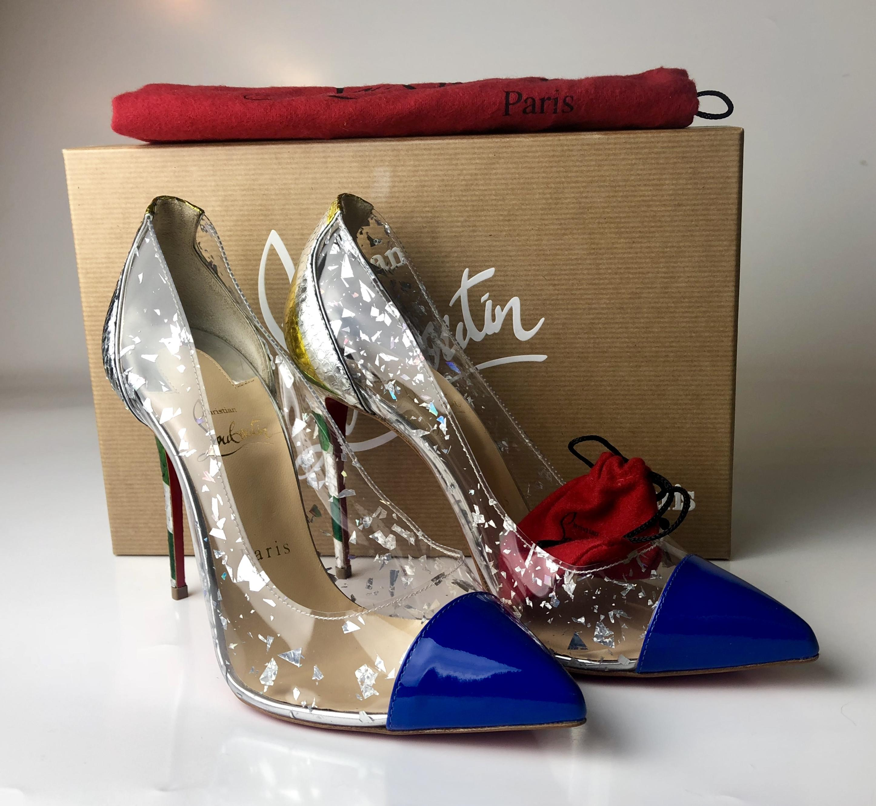 9b7f9f7f9 ... clearance pumps pvc christian version louboutin multicolor electric 100  debout patent qwp68x6vf a662e 59bed