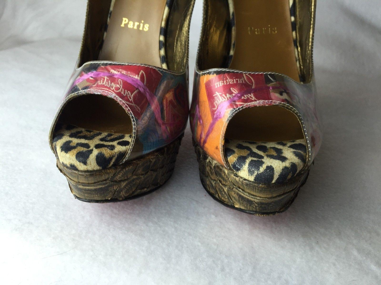 ef91cd3f1733 ... Christian Louboutin Multicolor Lady Peep 150 150 150 Winter Trash Euro  38.5   Pumps Size US ...
