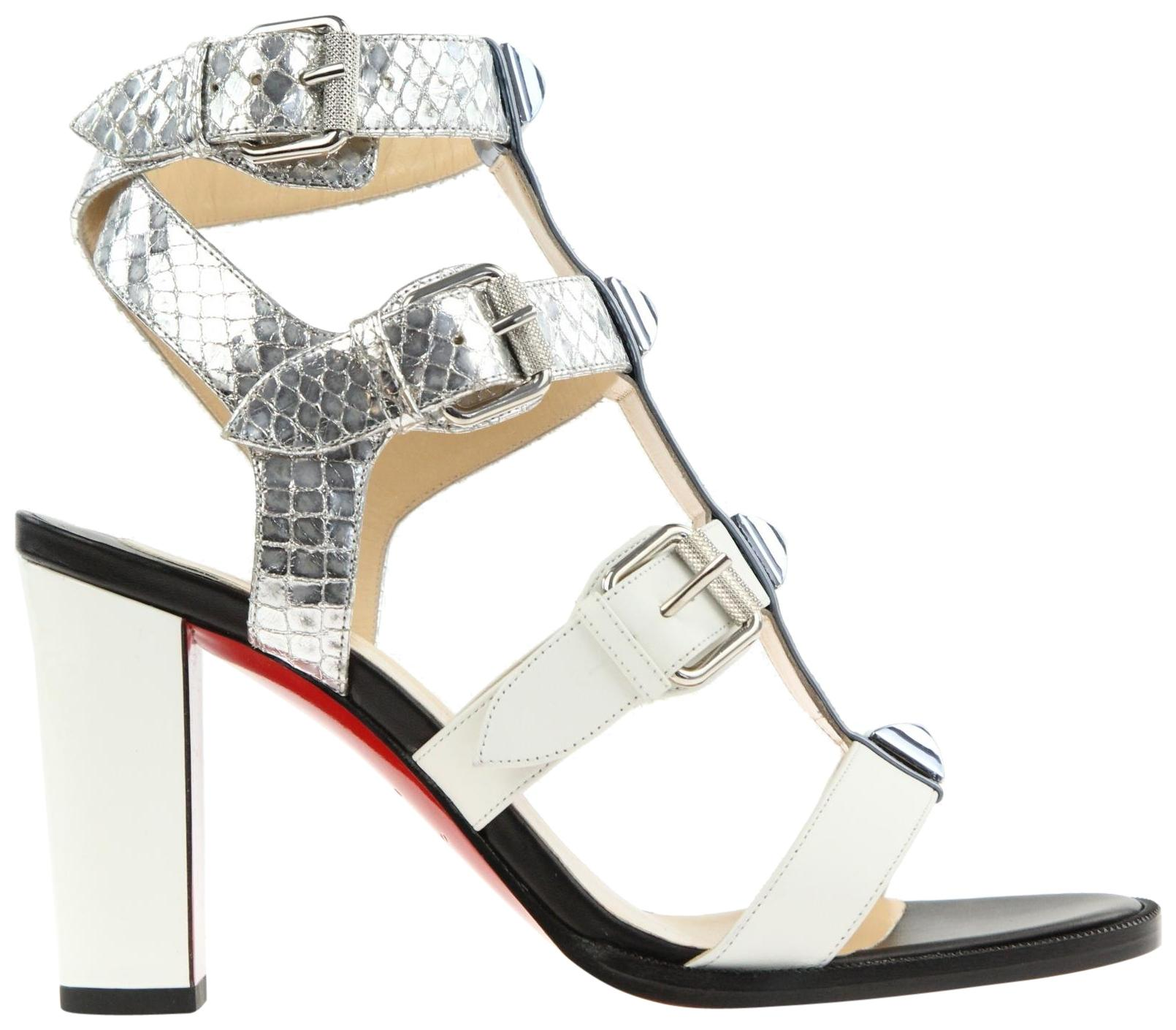 Christian Louboutin Multicolor Rocknbuckle 85 Met Pat/Calf/Lame Sir/Pat Sandals Size 6.5) EU 36.5 (Approx. US 6.5) Size Regular (M, B) 1409a3