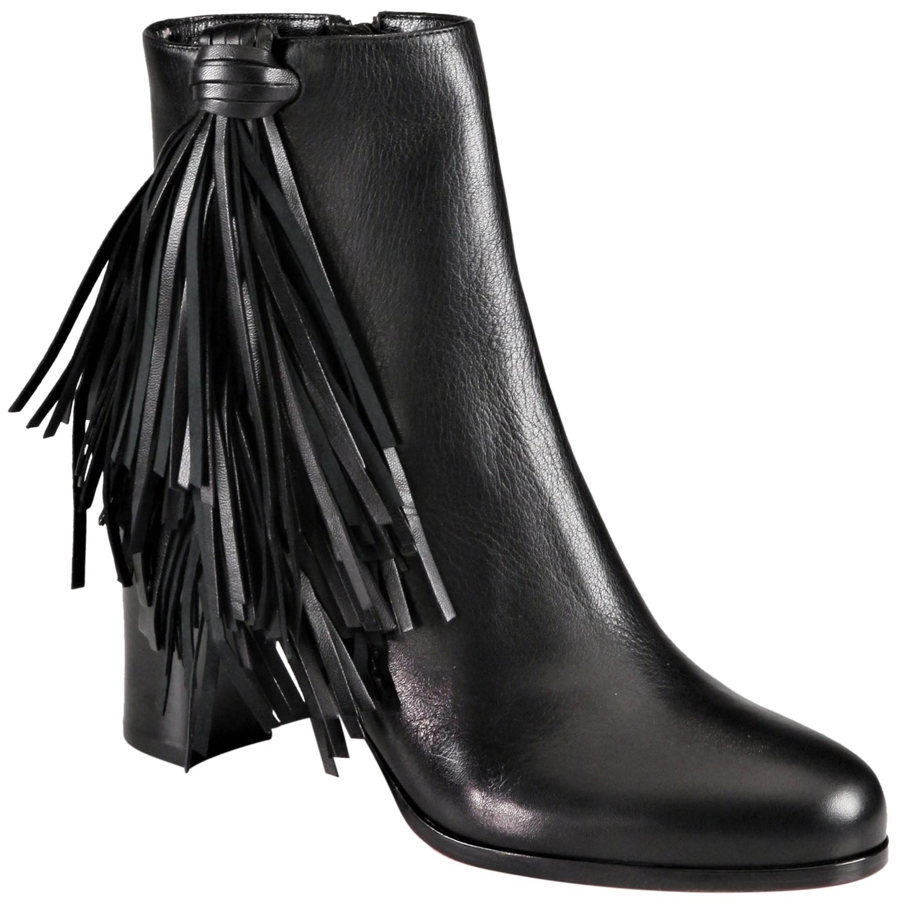 Christian Louboutin New Black Ankle 39 It Heel Women Lady Red Sole Toe Zip Leather Fringe Boots/Booties Size US 9 Regular (M, B)