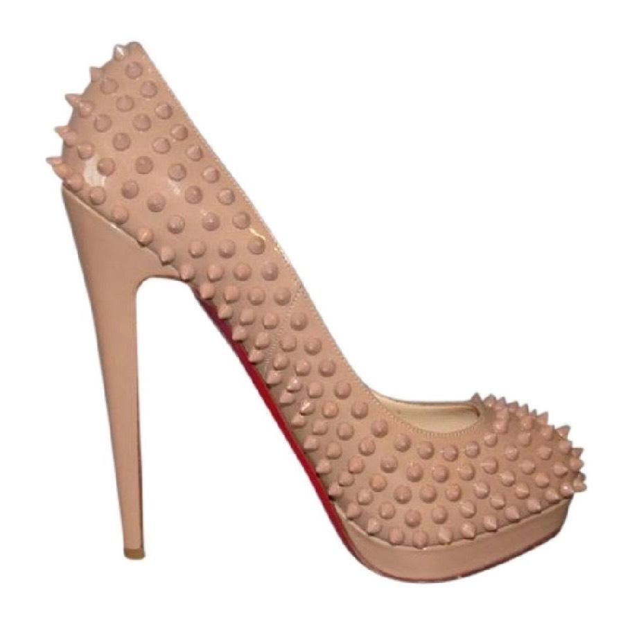 Christian Louboutin Nude Alti Spiked Patent-leather In Pumps Size US 5.5 Regular (M, B)