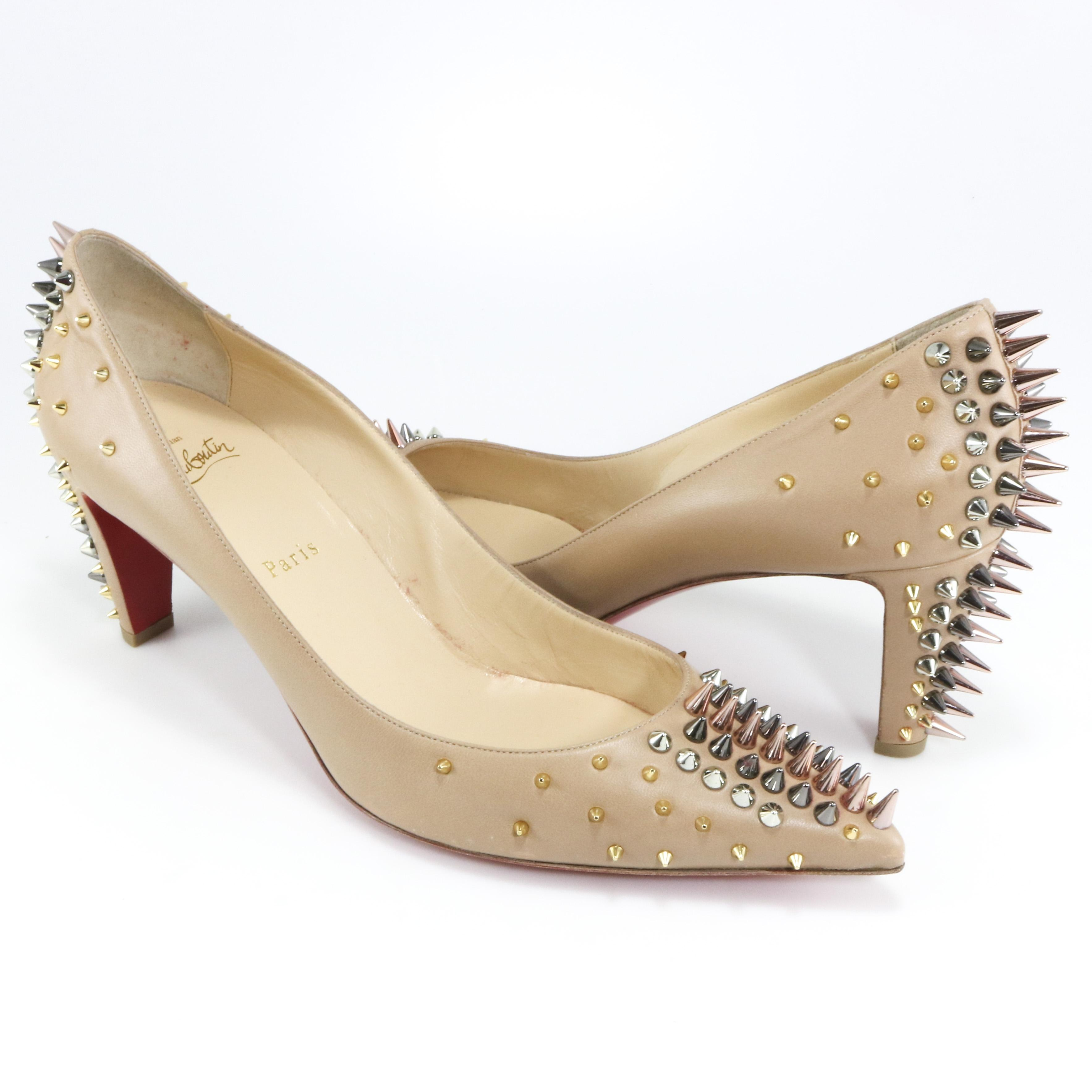 651287d1595f ... promo code for christian louboutin goldopump 70mm spike 42 nude pumps  1c2fb 468f7 ...