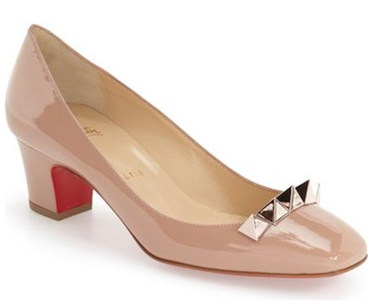 Christian Louboutin Nude New Pyramidame Patent 38.5 Pumps Size US 8.5