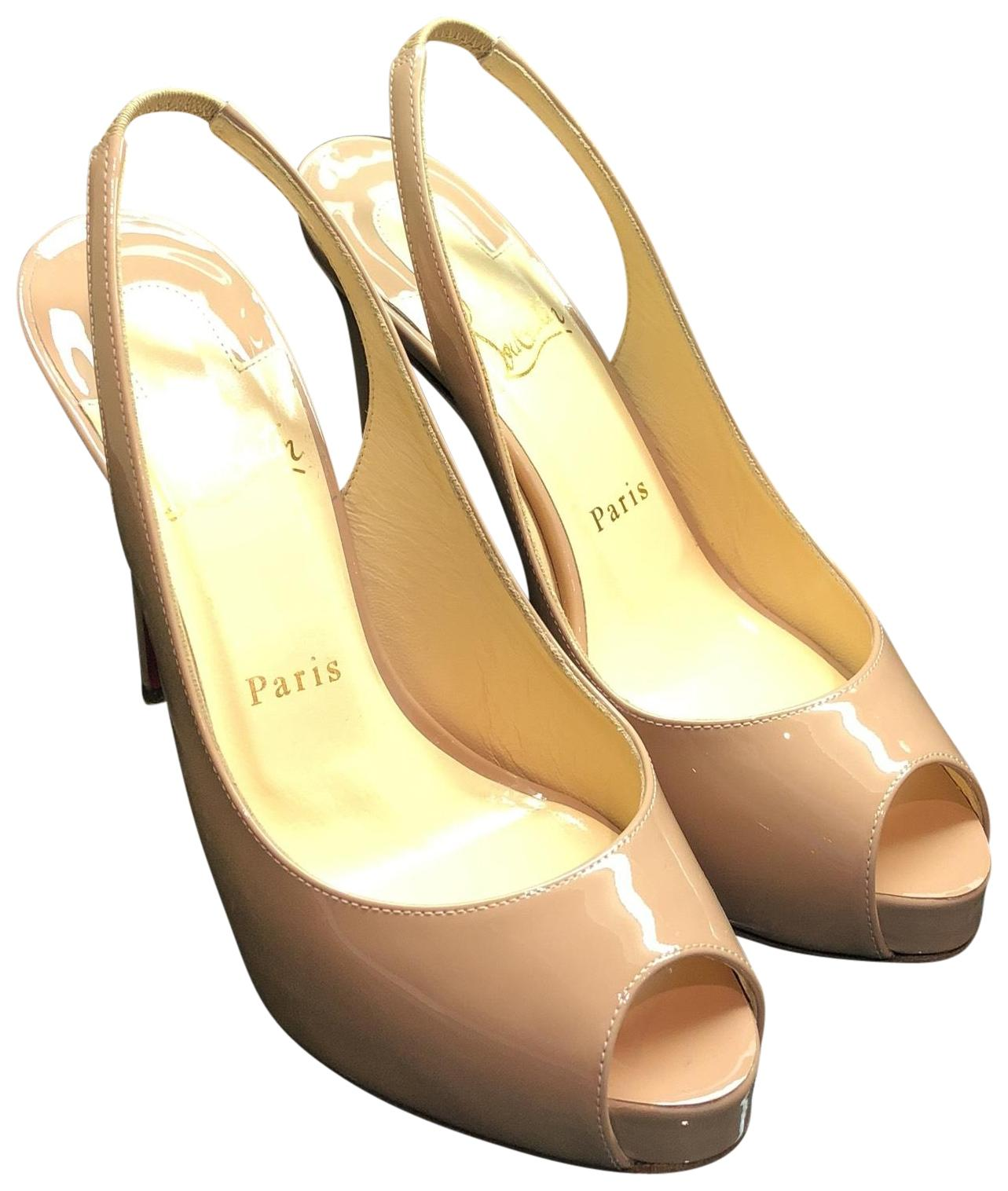 e3dc1868fb28 Christian Louboutin Nude Private Number Patent Leather Leather Leather Peep  Toe Stiletto Platforms Size EU 37 (Approx. US 7) Regular (M