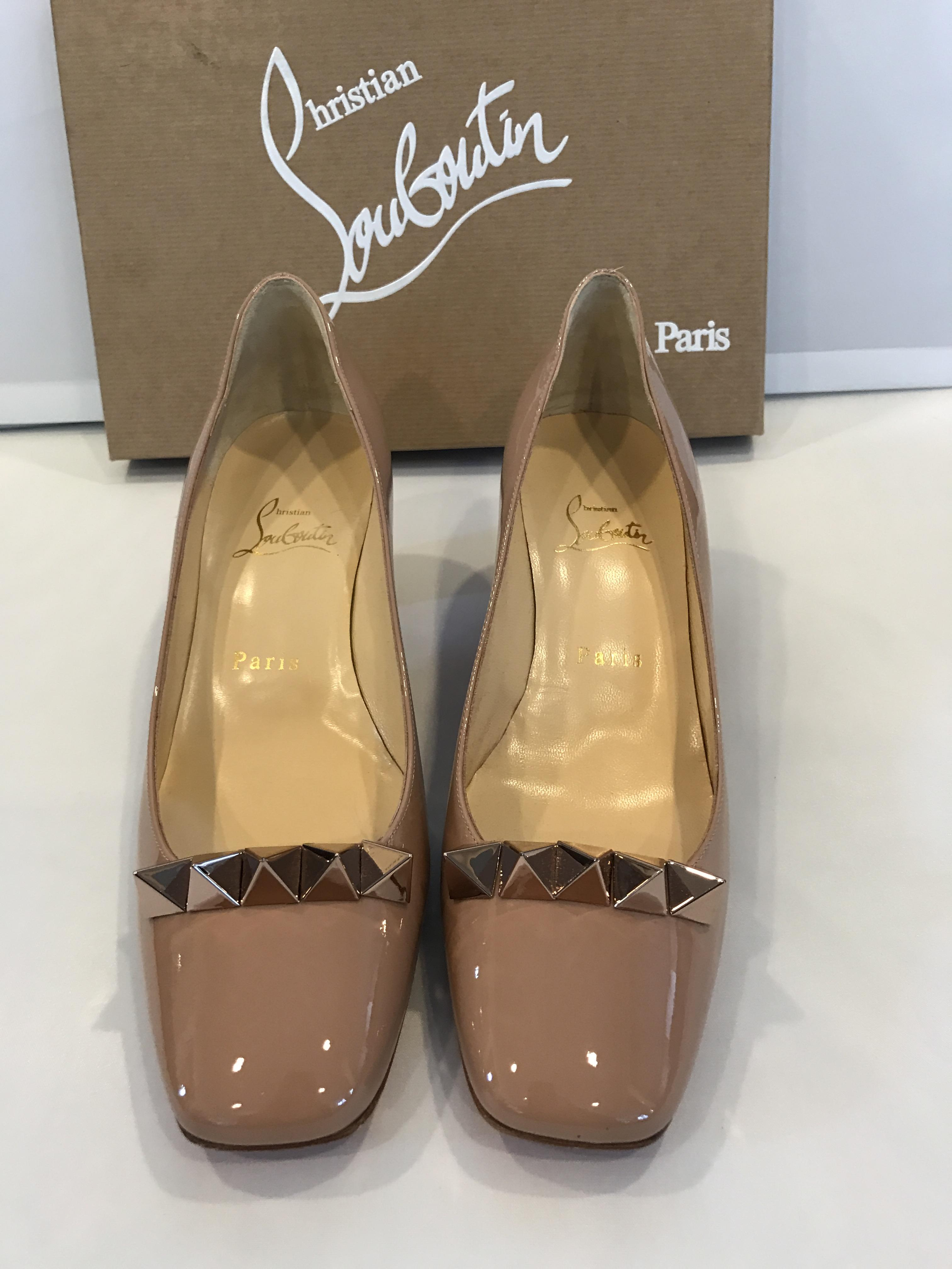 info for 36acd 70dce Christian Louboutin Nude Pyramidame 45 Studded Patent 39 39 ...