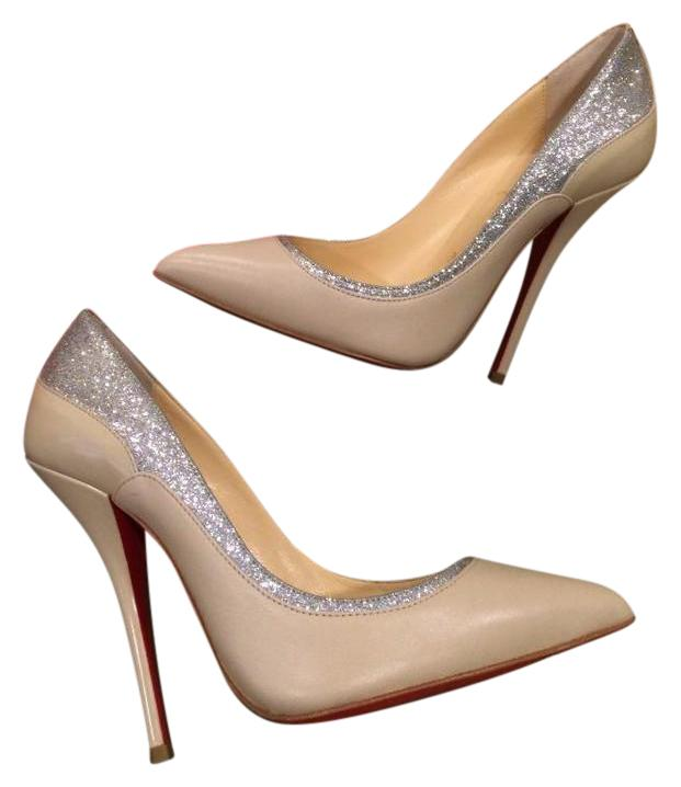 Christian Louboutin Nude Silver Tucsy 100 Glitter Leather Jazz 37.5 Pumps Size US 7.5