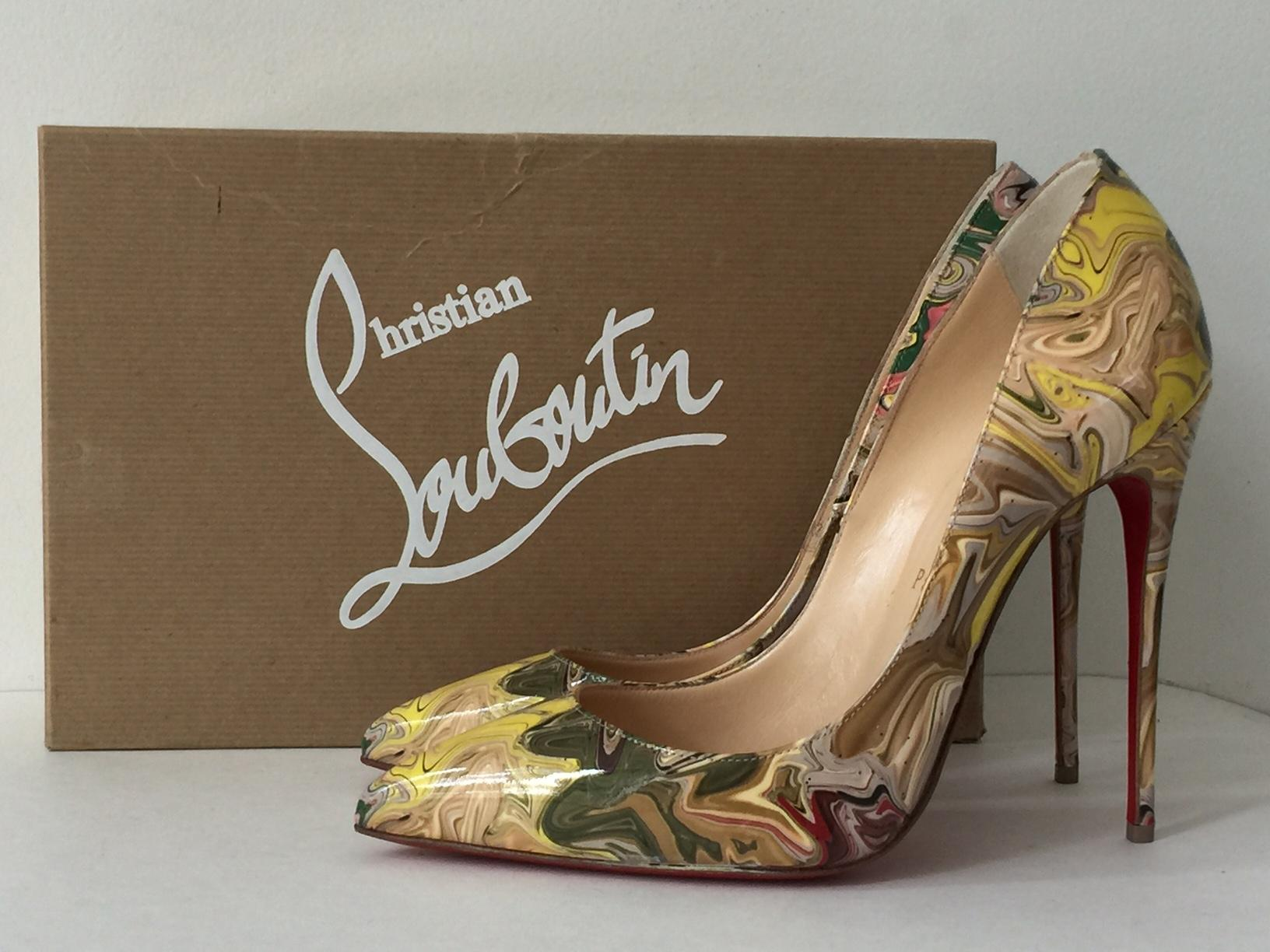 6563ee7af461 ... Christian Louboutin Nude So Kate Multicolor Marble Marble Marble Apt  Yellow Patent Leather Pumps Size US ...