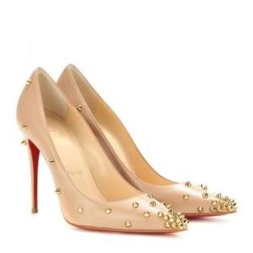 Christian Louboutin Nude/Gold Degraspike 100 Studded Spike Pumps Size US 10