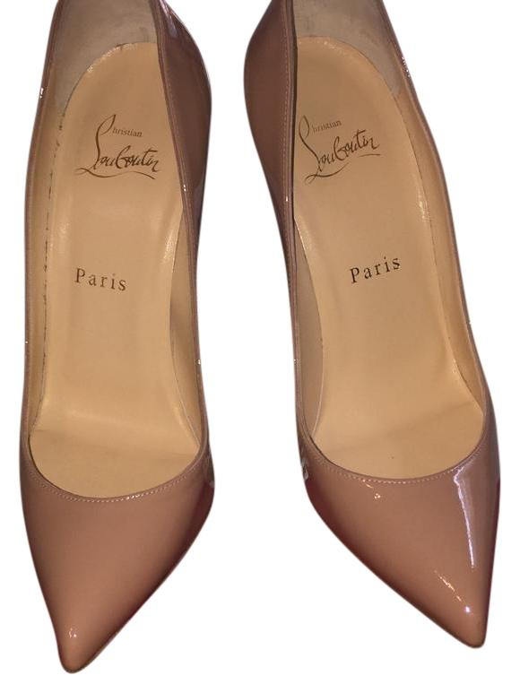 Christian Louboutin Patent Leather Nude Pigalle Follies 100mm Pumps Size EU 37 (Approx. US 7) Regular (M, B)