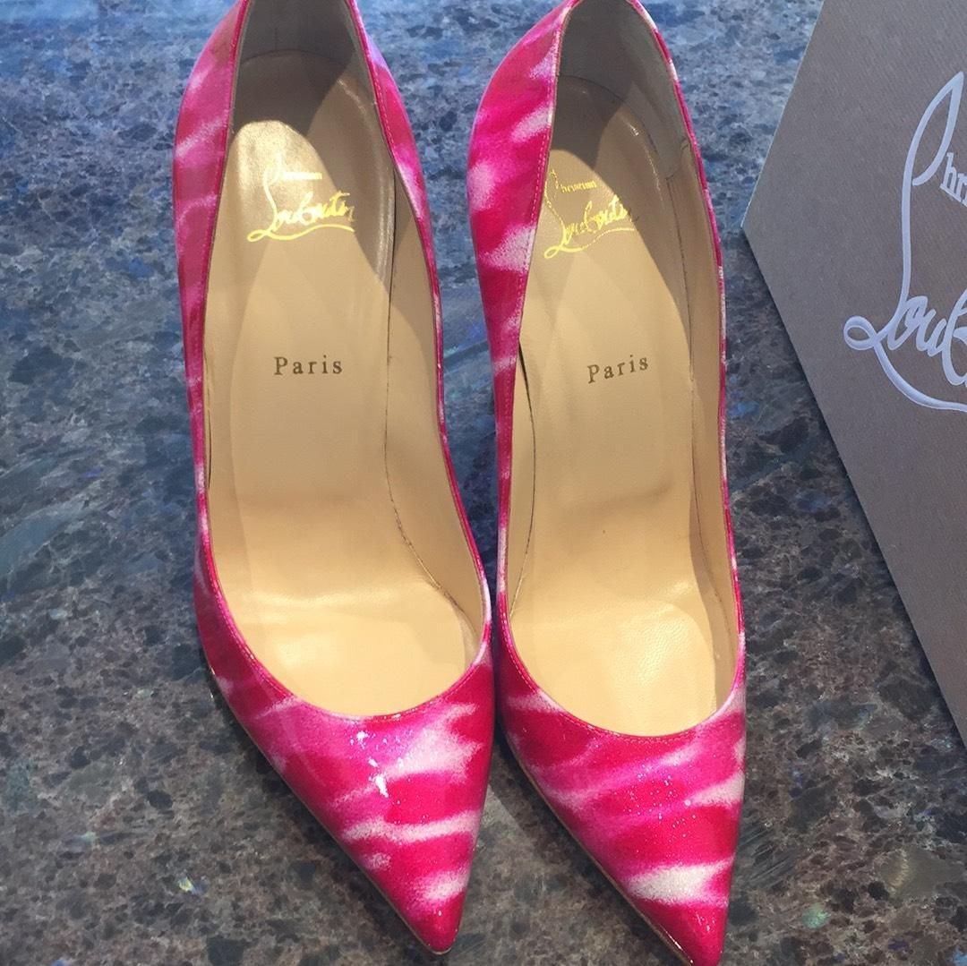 7bc962a3168a ... Christian Louboutin Pigalle Follies Shocking Pink White Glitter 100mm  100mm 100mm Stiletto 42 Pumps Size US ...