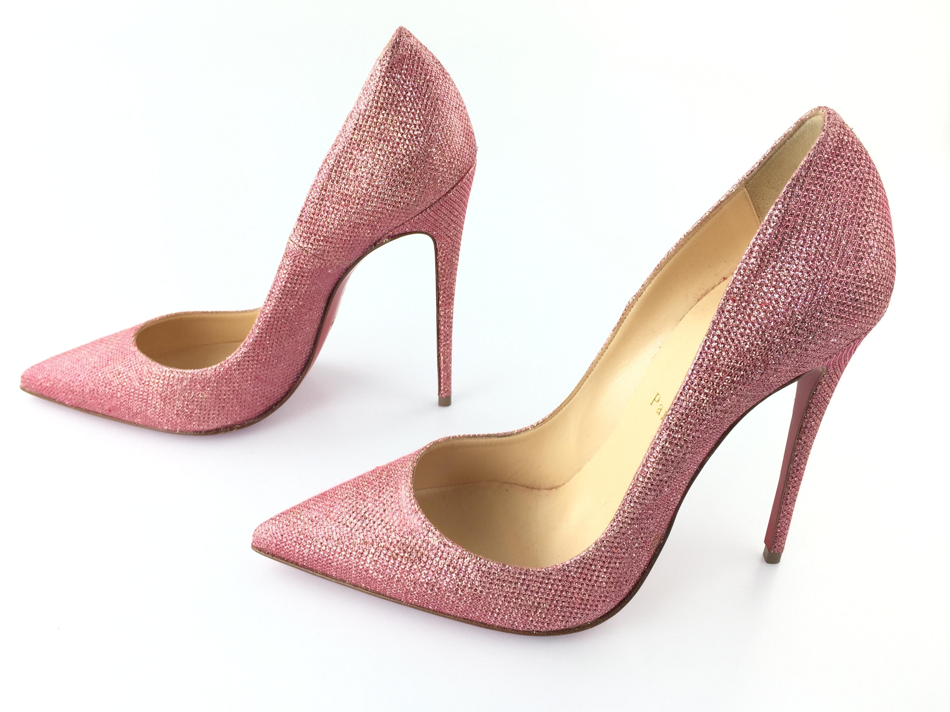 52083a866f2a ... Christian Louboutin Pink Classic So So So Kate 120mm Glitter Tisse  Point-toe Leather Heels ...