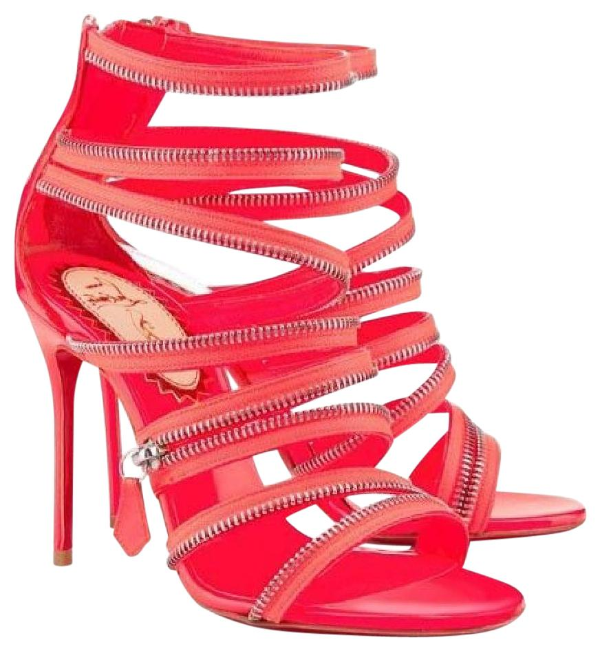 Christian Louboutin Pink Coral Unzip Booty 20ans Patent Strappy Zip Heels Booties 37.5 Sandals Size US 7.5
