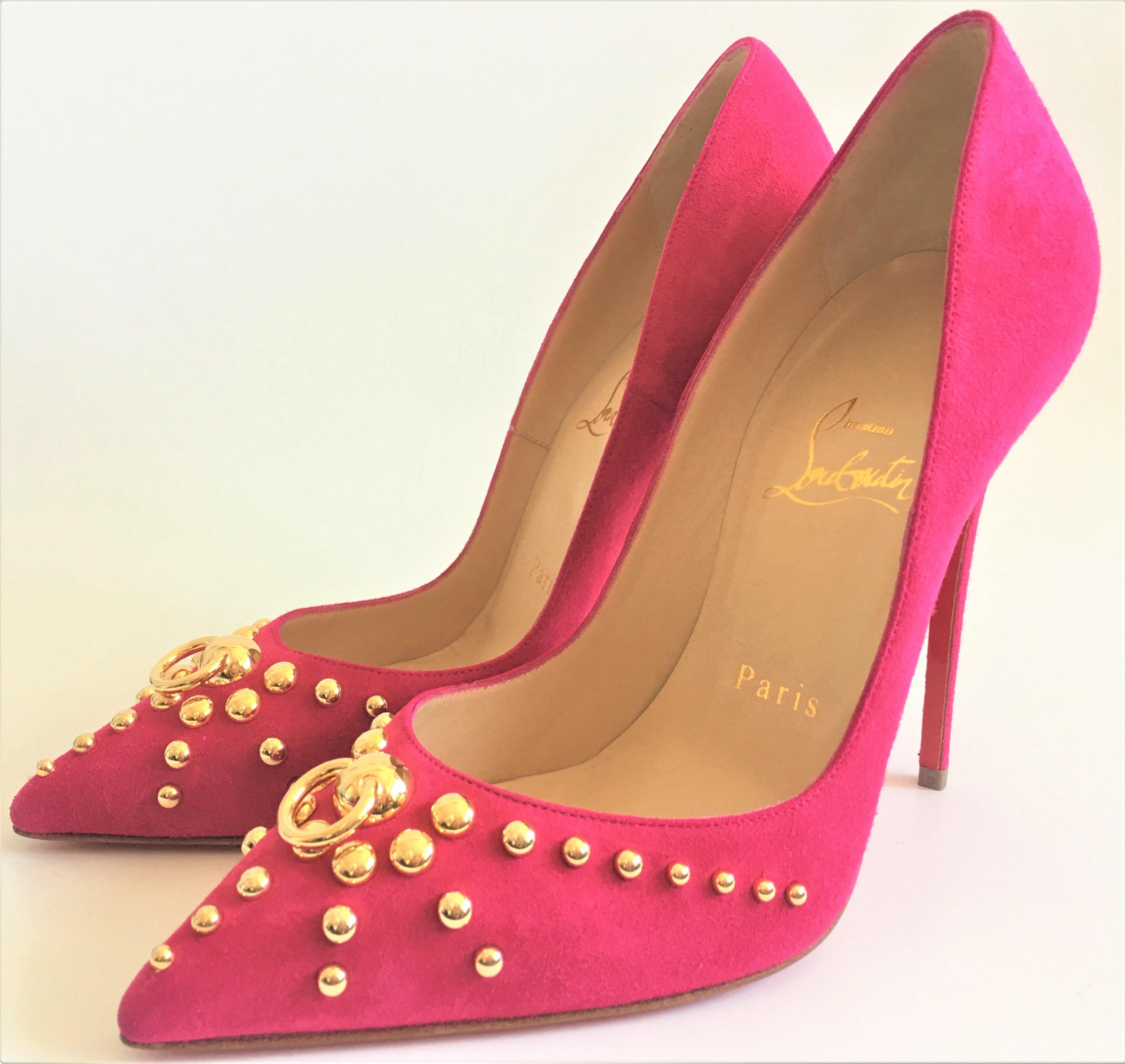 9fdd31e215e1 ... Christian Louboutin Pink Gold Gold Gold New Door Knock Pigalle Stud  Spike High Heel Red Lady