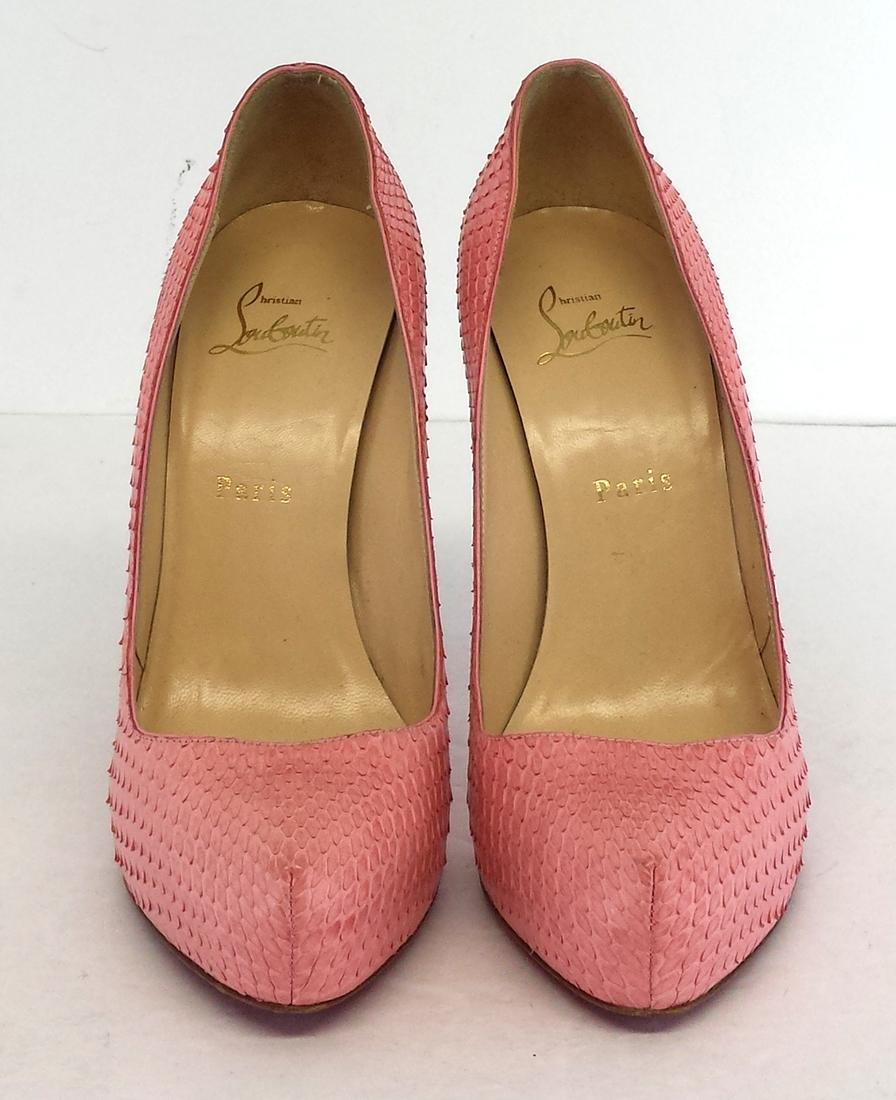 christian louboutin pink snakeskin leather pumps pumps