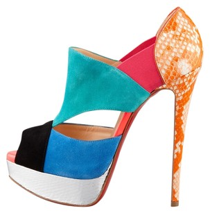 Christian Louboutin Pitou blue/orange/teal Platforms
