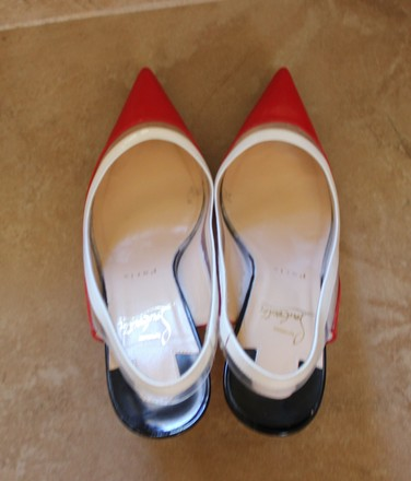 Christian Louboutin Pointed Toe Patent Leather Paulina Slingback Pvc Red, White Pumps