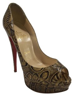 Christian Louboutin Print Tan/Brown Pumps