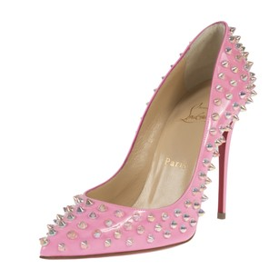 Christian Louboutin Follie Spike Pink Patent Leather Dolly Pumps Boots