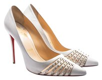 Christian Louboutin Pump Leather Hardware White with Gold Pumps