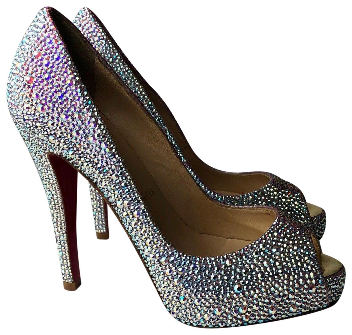Christian Louboutin Silver Very Prive 120 Aurora Boreale Swarovski Strass Pumps Size EU 36 (Approx. US 6) Regular (M, B)