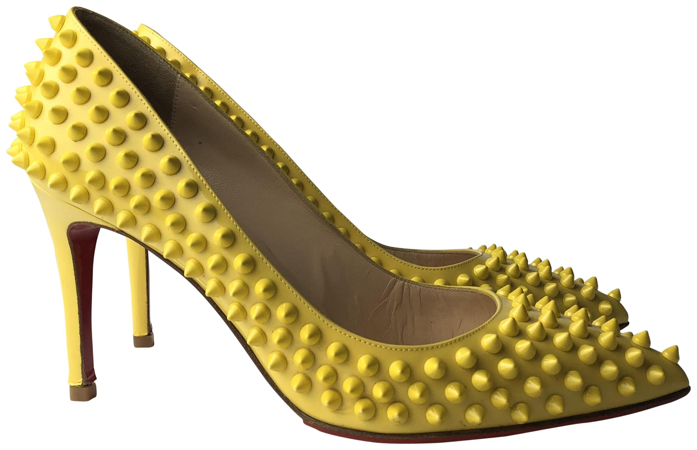 8423e5c6ab80 Christian Christian Christian Louboutin Yellow Pigalle 85 Spikes Patent  Leather Pumps Size EU 37 (Approx