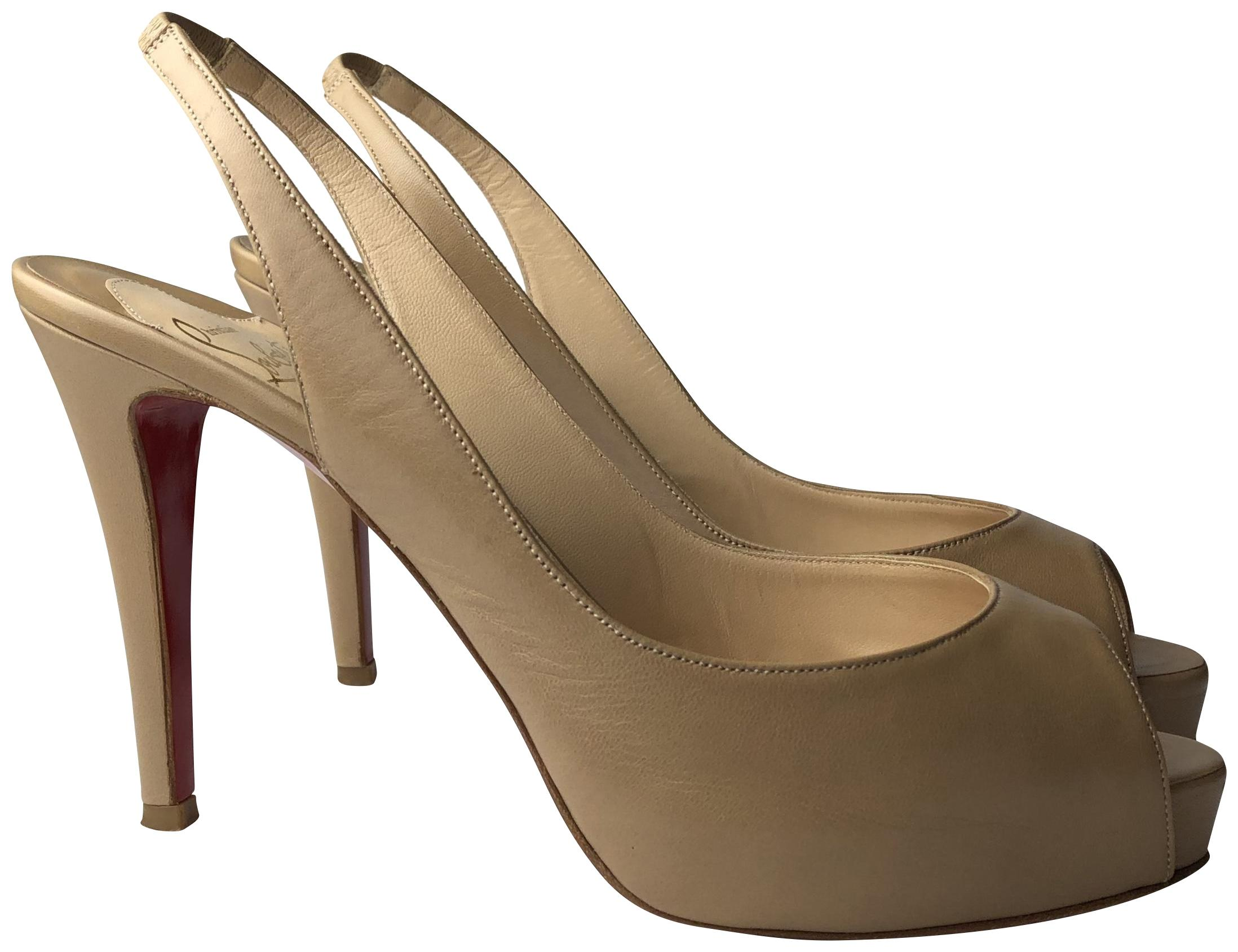 Christian Louboutin Nude Private 100 Leather Peep Pumps Size EU 38 (Approx. US 8) Regular (M, B)