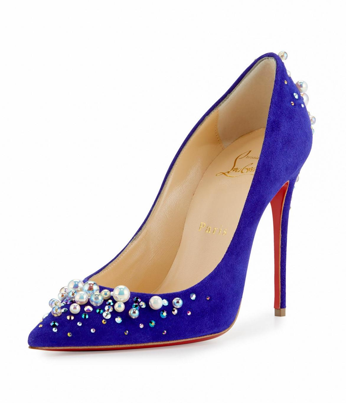 Christian Louboutin Purple Pop Candidate Pearly Embellished Suede Red Sole Pumps Size EU 38 (Approx. US 8) Regular (M, B)