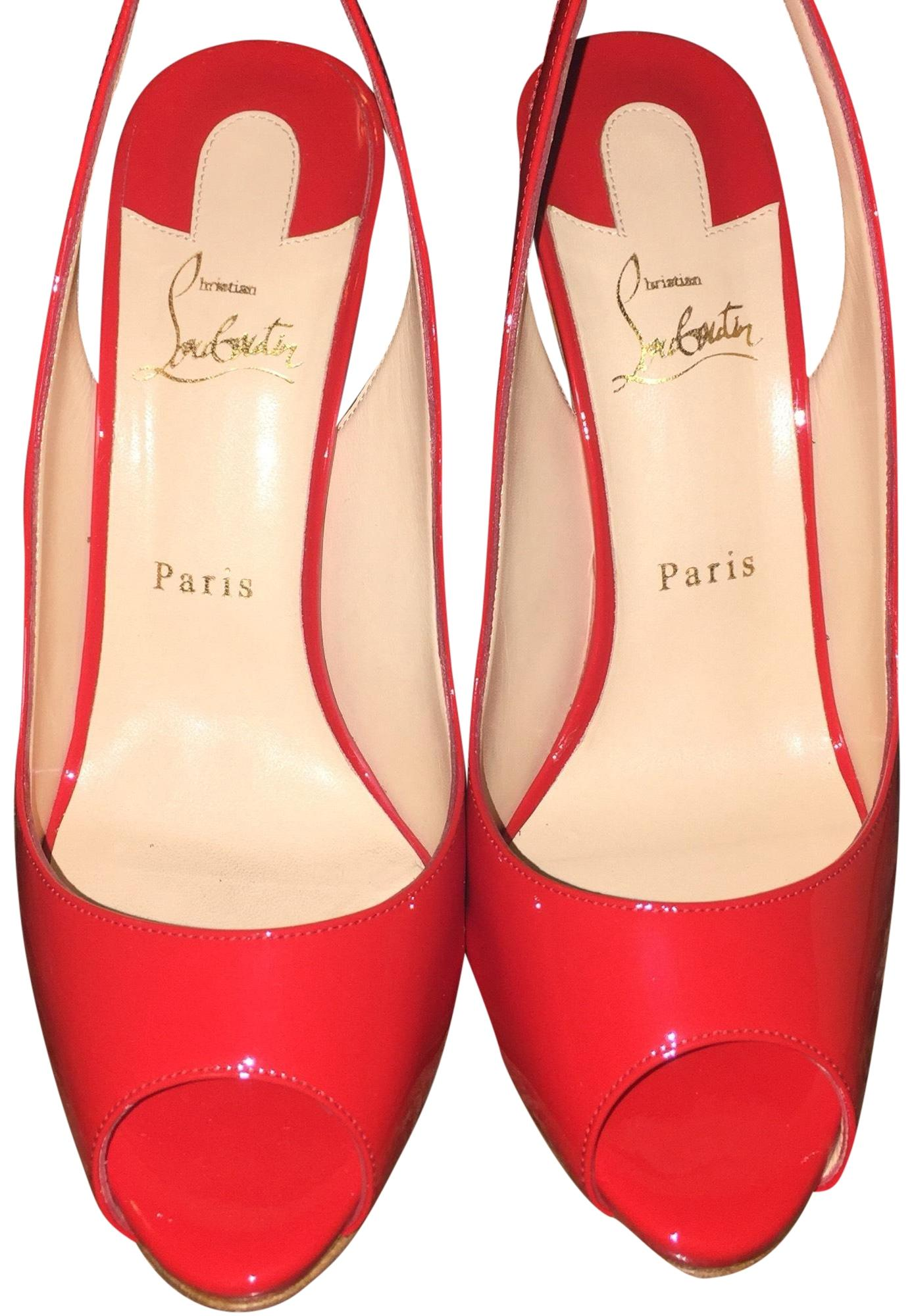 Christian Louboutin Red Flo Sling 120 Patent Pumps Size US 10 Regular (M, B)