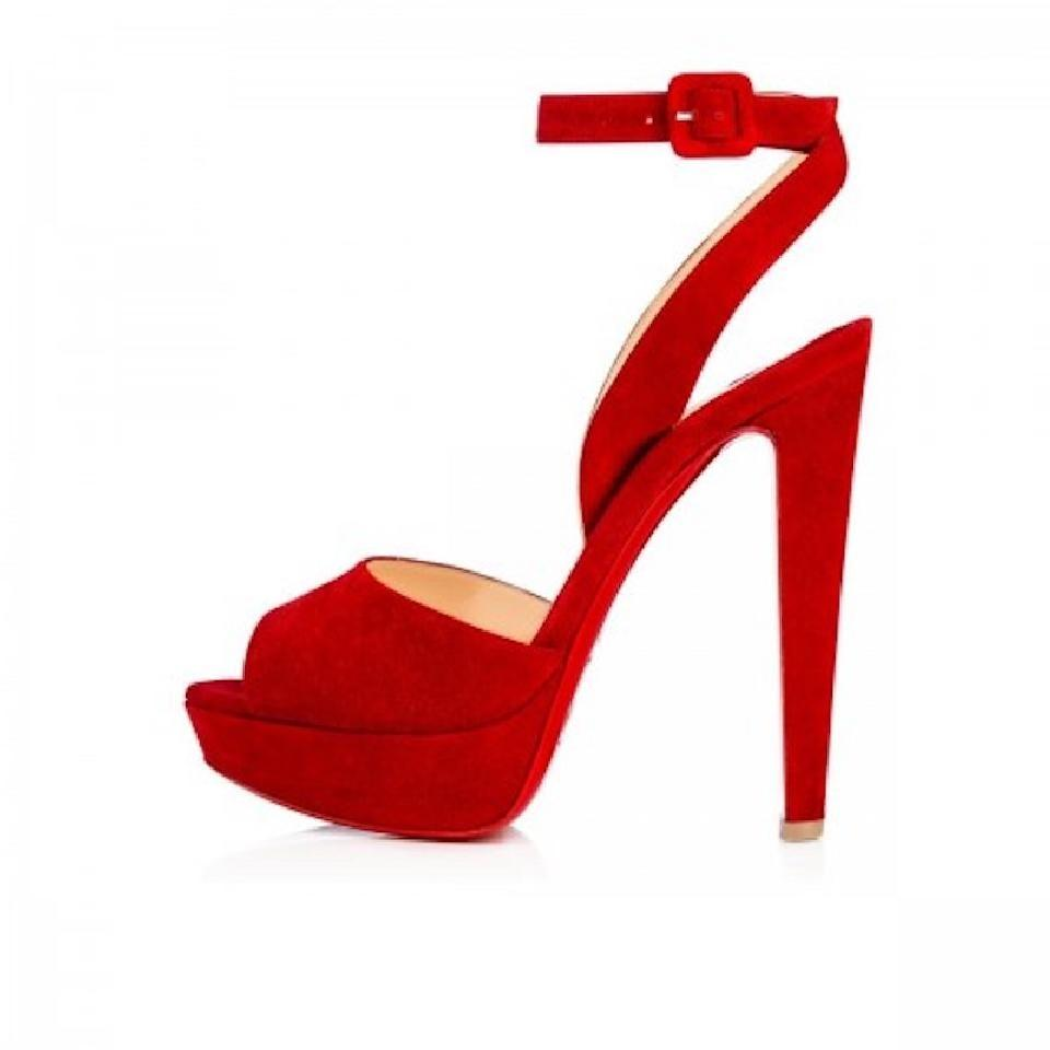Christian Louboutin Red Louloudancing 140 Ankle Strap Heel Pumps Size EU 36.5 (Approx. US 6.5) Regular (M, B)