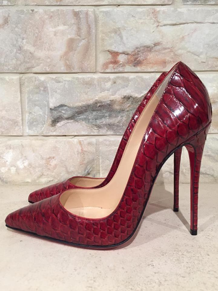 ae518bbc85cf ... Christian Louboutin Red Red Red So Kate 120 Python Snake Heel 36 Pumps  Size US 6 ...