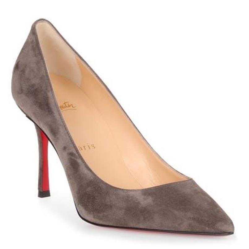 Christian Louboutin Roche (Grey) Decoltish 85 Suede Pointed Heels Pumps Size EU 38.5 (Approx. US 8.5) Regular (M, B)