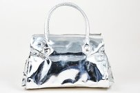 Christian Louboutin Metallic Patent Satchel in Silver