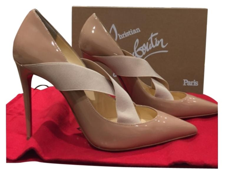 Christian Louboutin Sharpstagram Nude Patent 100mm 38.5 Pumps Size US 8.5 Regular (M, B)