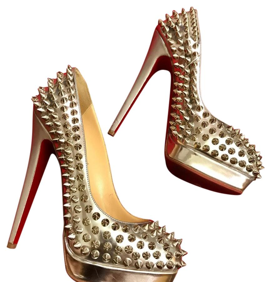 Christian Louboutin Silver and Spikes Platforms Size US 4.5 Regular (M, B)