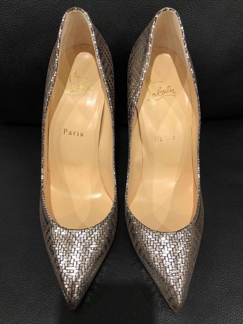 ec1ad5cd16b8 ... Christian Louboutin Silver Pigalle Follies Follies Follies 100 Antic  Lame Heel Pumps Size EU 37 ...