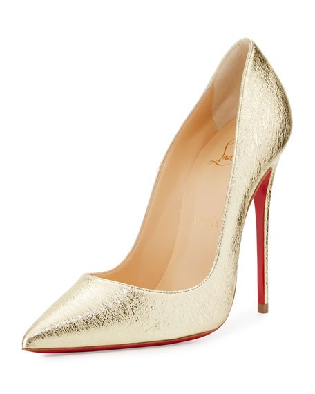 Christian Louboutin Kate Metallic 120mm Red Sole Golden ...