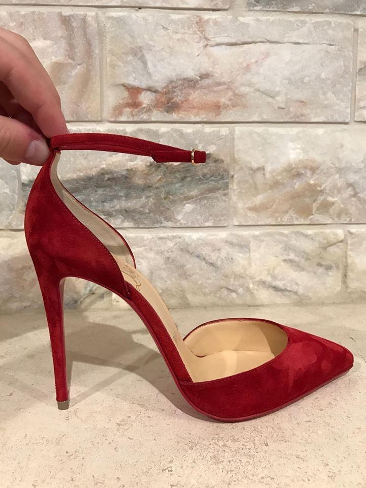 90baed3105b ... coupon code for christian louboutin red uptown 100 carmin suede ankle  heel 35.5 pumps size us