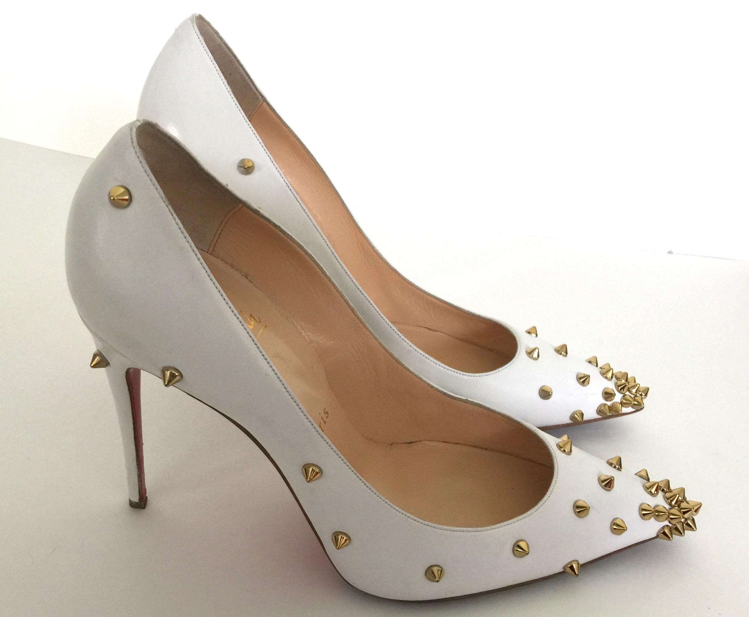 085cf231521 ... Christian Louboutin White Degraspike 100 Gold Spiked Leather Pumps  Pumps Pumps Size US 9.5 a246f9 ...