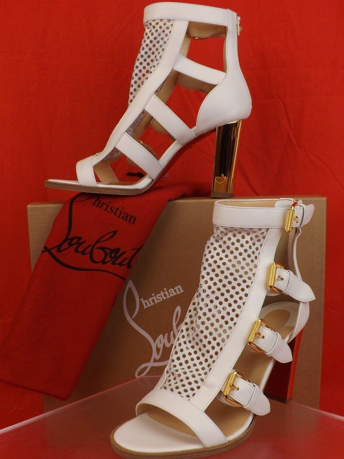 cf195728011 ... Christian Louboutin White Fencing 85 Latte Perforated Perforated  Perforated Leather Buckles Mirror Heel Pumps Size EU ...