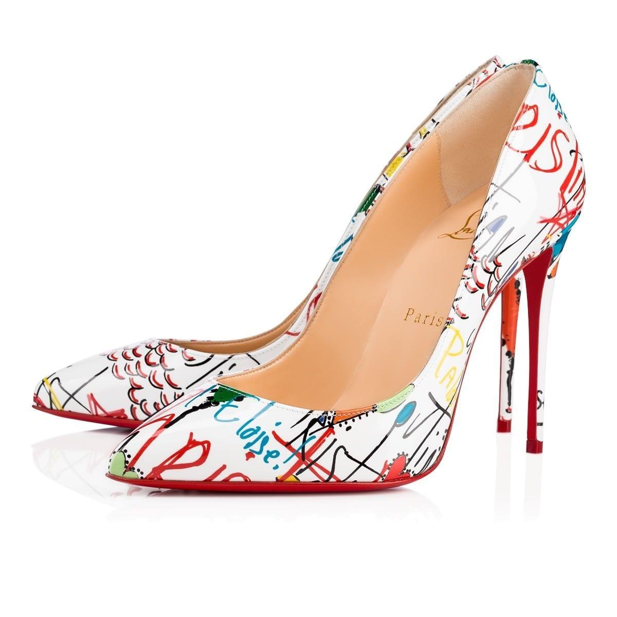 e67fd8d998d Christian Louboutin White Pigalle Follies 100 Red Loubitag Loubitag  Loubitag Graffiti Patent Leather Heel Pumps Size