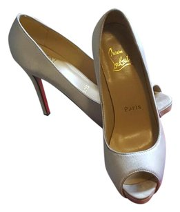 Christian Louboutin white satin Platforms
