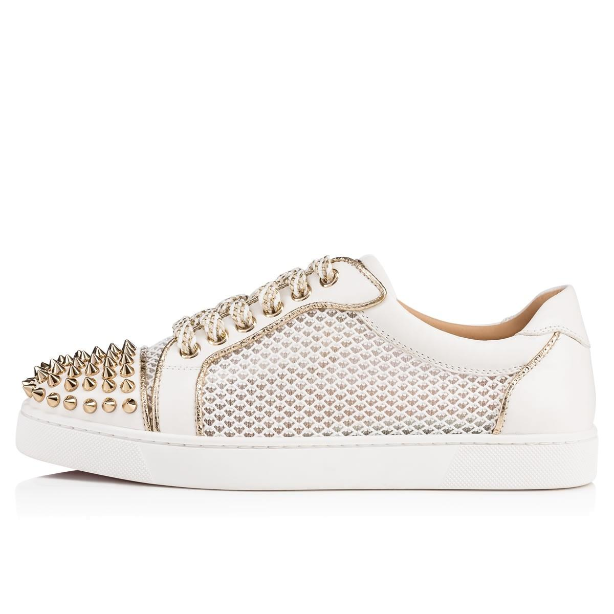 b085d5012363 ... discount code for christian louboutin low top white gold ac vieira spikes  studded mesh fabric leather