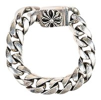 Chrome Hearts Chrome Hearts Sterling Silver Flower Clasp Curb Chain Link Bracelet