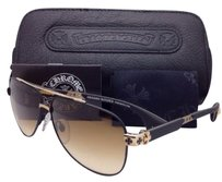 Chrome Hearts New CHROME HEARTS Sunglasses DRAG KING I MBK/GP-MBK Black/Gold Plated Aviator w/Brown lenses