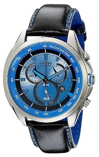 Citizen Citizen At2180-00l Mens Eco Drive Wdr Leather Band Blue Dial Sports Watch