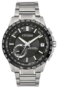 Citizen Citizen CC3005-85E Men's Satellite Wave Eco-Drive Black Dial World Time GPS Steel Bracelet Watch