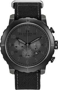 Citizen Citizen Eco-drive Military Chronograph All Black Nylon Mens Watch Ca4098-06e